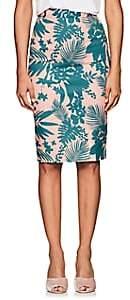 Barneys New York Women's Floral Cotton Twill Pencil Skirt - Green