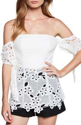 Bardot Essy Off the Shoulder Lace Bustier Top