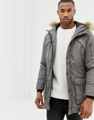 Bershka parka jacket in gray with faux fur hood