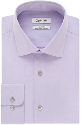 Calvin Klein Steel Men Classic-Fit Non-Iron Performance Herringbone Spread Collar Dress Shirt