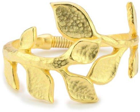 Kenneth Jay Lane Satin Gold Leaf Cuff Bracelet