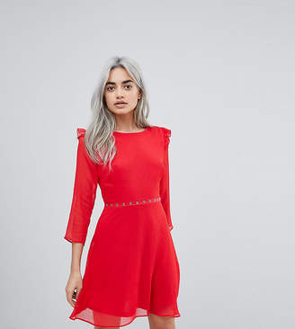 New Look Petite Eyelet Ruffle Sleeve Dress