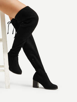 Shein Lace Up Block Heeled Thigh High Boots