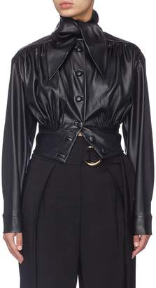 MATÉRIEL Sash tie neck cropped faux leather jacket