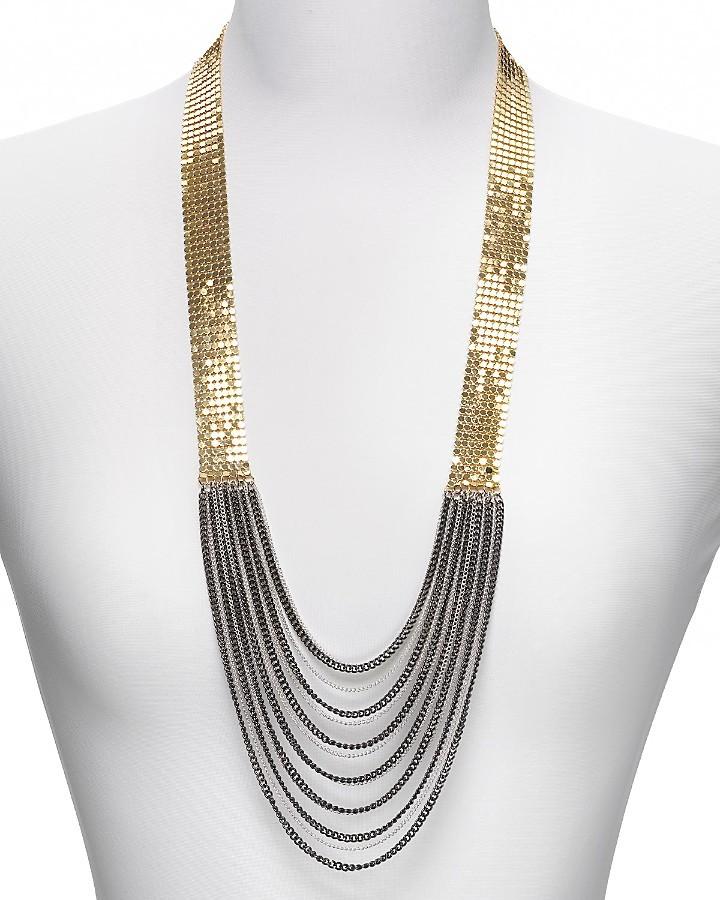 Aqua Disco Mesh and Chain Necklace, 26