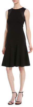 Emporio Armani Sleeveless Round-Neck A-Line Ottoman Knit Dress w/ Satin Combo