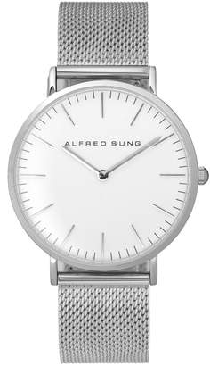Alfred Sung Stainless Steel Mesh Bracelet Watch