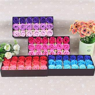 Leoie 18Pcs/Box Romantic Rose Petals Soap Flower Plant Essential Oil Soap Anniversary Gift