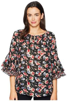 Chaps Ruffled Floral Top Women's Clothing