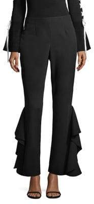 Scripted Side Ruffle Pants