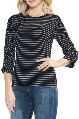 Vince Camuto Textured Ruched Sleeve Stripe Top