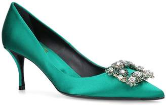 Roger Vivier Satin Flower Strass Pumps 65