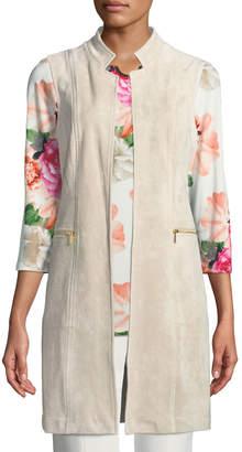 Iconic American Designer Faux-Suede Duster Vest