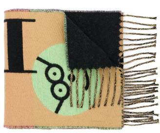 Burberry Graffiti Graphic Wool Cashmere Scarf