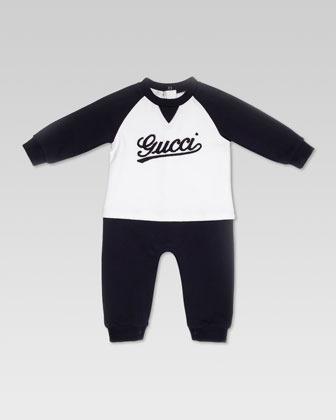 Gucci Logo Script Ringer-Tee Sleepsuit, White/Blue