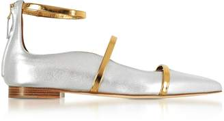 Malone Souliers Robyn Silver/Gold Metallic Nappa Leather Flat Ballerinas