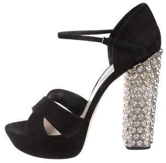 Miu Miu Embellished Platform Sandals