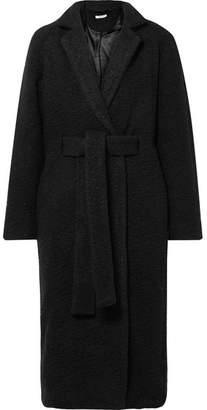 Ganni Fenn Oversized Belted Wool-blend Bouclé Coat - Black