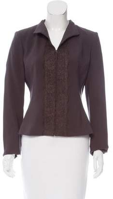 Valentino Lace-Accented Wool Blazer