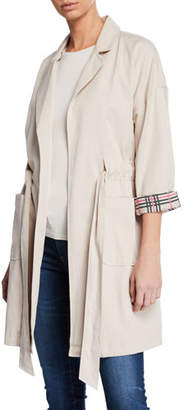 Cupcakes And Cashmere Easton Trench Coat with Plaid Contrasts