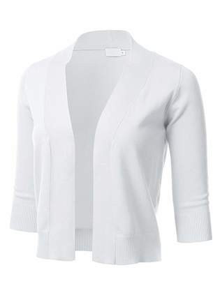 The Lovely Women 3/4 Sleeve Solid Open Bolero Shrug