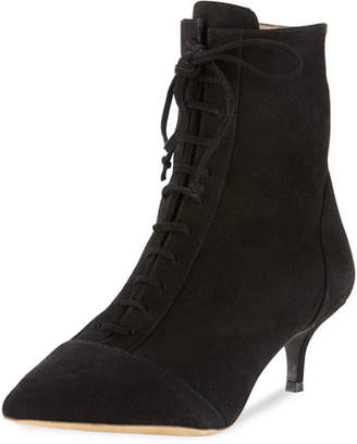 Tabitha Simmons Emmet Suede Point-Toe Lace-Up Ankle Boot