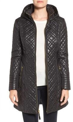 Women's Via Spiga Tassel Detail Hooded Mix Quilt Coat $198 thestylecure.com