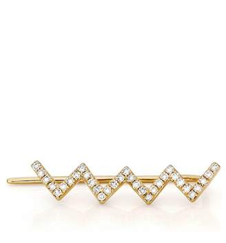 Ef Collection 14K Yellow Gold Zigzag Right Ear Crawler Earring