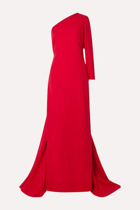 Carolina Herrera One-shoulder Draped Silk-crepe Gown - Red