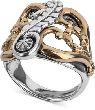 American West Two-Tone Fancy Openwork Ring in Sterling Silver & Brass
