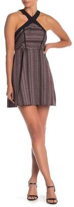 BCBGeneration Geo Pattern Halter Fit & Flare Dress