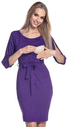 Happy Mama. Womens Nursing Layered Dress Belted Cold Shoulders Pregnancy. 432p (