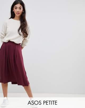 Asos DESIGN Petite midi skirt with box pleats