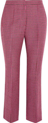 MSGM Cropped Houndstooth Wool Flared Pants - Pink