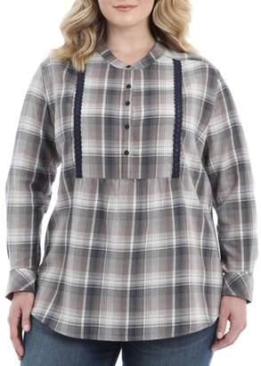 Lee Riders Women's Plus Long Sleeve Flannel Tunic