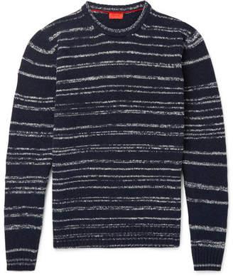Isaia Striped Slub Wool-Blend Mock-Neck Sweater