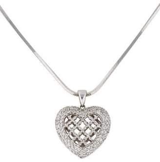18K Diamond Openwork Heart Pendant Necklace