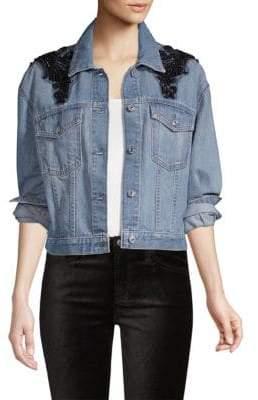 7 For All Mankind Embellished Boyfriend Denim Jacket