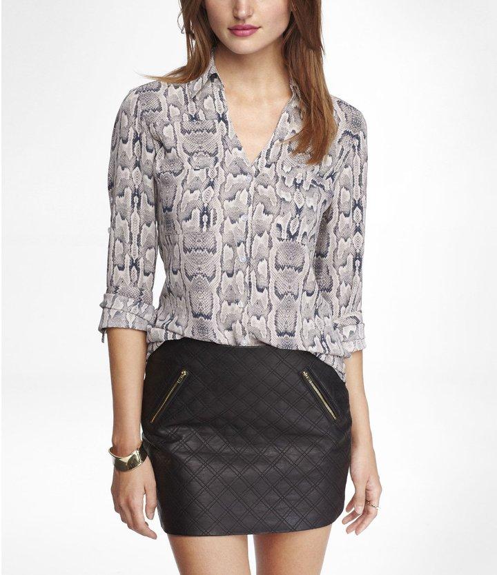 Express Snakeskin Print Convertible Sleeve Portofino Shirt