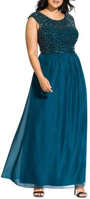City Chic Plus Sweet Love Sequined Gown