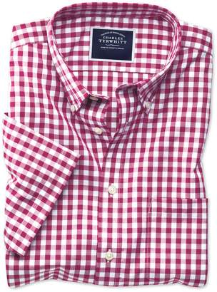 Charles Tyrwhitt Classic Fit Non-Iron Raspberry Gingham Short Sleeve Cotton Casual Shirt Single Cuff Size Small