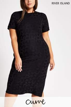 River Island Womens Curve Black Leo Jacquard Dress - Black