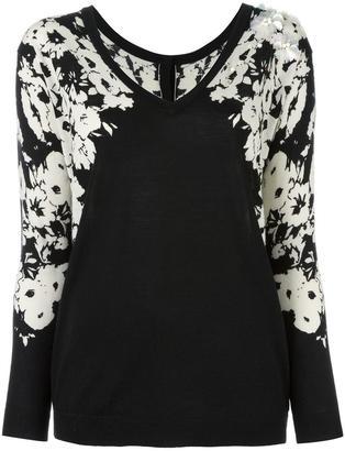 Twin-Set floral embellished V-neck blouse $183.76 thestylecure.com
