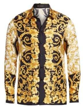 Versace Baroque Hibiscus Silk Shirt