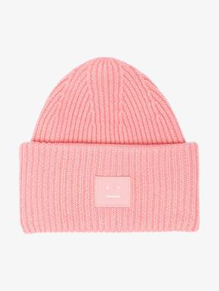 Acne Studios pink Pansy Face ribbed wool beanie
