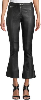 Cinq à Sept Marcelle Cropped Flare-Leg Leather Pants
