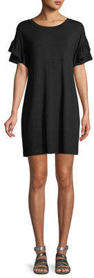Neiman Marcus Crewneck Ruffle-Sleeve Jersey Dress
