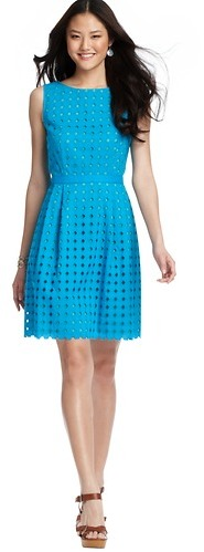 LOFT Diamond Eyelet Cotton Dress