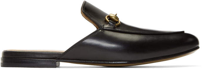 Gucci Black Leather Horsebit King Slippers