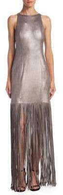 Halston Metallic Fringed Gown